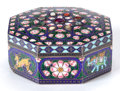 Asian, AN INDIAN SILVER GILT AND ENAMEL OCTAGONAL BOX. Circa 1900. 1-1/4inches high x 3 inches wide (3.2 x 7.6 cm). ...