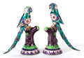 Asian, A PAIR OF INDIAN ENAMELED SILVER MINIATURE BIRDS. Circa 1900. 4-1/4inches high (10.8 cm). ... (Total: 2 Items)