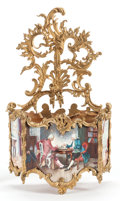 Paintings, A FRENCH PAINTED AND GILT BRONZE WALL POCKET. 19th century. 14-1/4 inches high (36.2 cm). ...