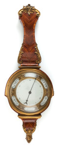 Decorative Arts, French:Other , A FRENCH KINGWOOD AND GILT BRONZE WALL BAROMETER. Circa 1900. 29inches high (73.7 cm). ...