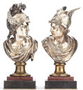 Decorative Arts, Continental, A PAIR OF SILVERED BRONZE BUSTS OF MERCURY. Late 19th century. 16inches high (40.6 cm) (each). ... (Total: 2 Items)
