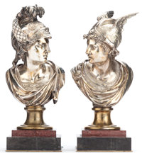 A PAIR OF SILVERED BRONZE BUSTS OF MERCURY Late 19th century 16 inches high (40.6 cm) (each)