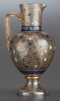 Art Glass:Other , A MOSER ENAMELED GLASS CLARET JUG. Circa 1890. 10-3/4 inches high(27.3 cm). ...
