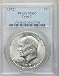Eisenhower Dollars, 1972 $1 Type Two MS63 PCGS. PCGS Population (519/507). Numismedia Wsl. Price for problem free NGC/PCGS ...