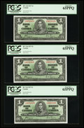 Canadian Currency: , BC-21d $1 1937 Three Consecutive Examples.. ... (Total: 3 notes)