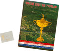 Golf Collectibles:Miscellaneous, 1963 Bobby Jones Ryder Cup Paperweight & Program....