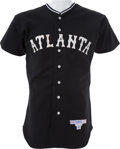 Baseball Collectibles:Uniforms, 1986 Mickey Mantle Old Timers' Game Worn Atlanta CrackersJersey....