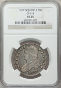 Bust Half Dollars: , 1827 50C Square Base 2 VF25 NGC. O-114. NGC Census: (37/2037). PCGSPopulation (35/1910). Mintage: 5,493,400. Numismedia W...