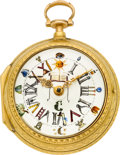 Timepieces:Pocket (pre 1900) , Joseph Hitchin London Fine Gold Verge Fusee With Masonic Dial, circa 1777. ...