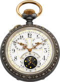Timepieces:Pocket (pre 1900) , Swiss Fancy Dial Patented Calendar With Moon Phase, circa 1890. ...