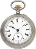 Timepieces:Pocket (post 1900), Swiss Sterling Silver Patent Automaton Pocket Watch, circa 1901....