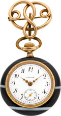 Timepieces:Pocket (post 1900), Zenith Agate Pocket Watch With Gold Pin, circa 1910. ...