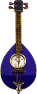 Timepieces:Pocket (pre 1900) , Swiss Large Enamel & Silver Mandolin Form Watch, circa 1850's. ...