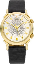 Timepieces:Wristwatch, LeCoultre Gold World Time Wrist Alarm, circa 1955. ...