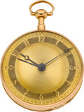 Timepieces:Pocket (pre 1900) , Recordon Late Emery, London, No. 7420 Rare Gold Quarter HourRepeater With Alarm, circa 1805. ...