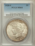 Peace Dollars: , 1928-S $1 MS64 PCGS. PCGS Population (1794/48). NGC Census:(1254/39). Mintage: 1,632,000. Numismedia Wsl. Price for proble...