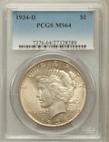 Peace Dollars: , 1934-D $1 MS64 PCGS. PCGS Population (1262/470). NGC Census:(774/288). Mintage: 1,569,500. Numismedia Wsl. Price for probl...