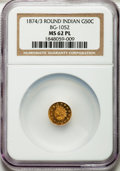 California Fractional Gold: , 1874/3 50C Indian Round 50 Cents, BG-1052, High R.4, MS62 ProoflikeNGC. NGC Census: (3/7). ...