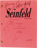 "Movie/TV Memorabilia:Autographs and Signed Items, ""Seinfeld"" Cast Signed 100th Episode Script. A table draft scriptfor the episode ""The Kiss Hello"", dated January 5, 1994, a...(Total: 1 Item)"