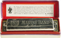 Bob Dylan's Harmonica. This Marine Band harmonica in the key of G was manufactured by Hohner and owned and used by Bob D...