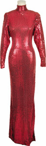 Movie/TV Memorabilia:Costumes, Sonny & Cher Costumes. A Cher cherry red straight-line column dress with applied bright red sequins, a fitted collar, a left... (Total: 1 Item)