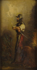 Fine Art - Painting, European:Antique  (Pre 1900), GERMAN SCHOOL (Nineteenth Century) . An Armed Soldier. Oilon beveled board. 16 x 8-1/2 inches (40.6 x 21.6 cm). Signed ...