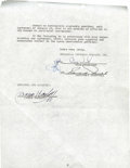 """Movie/TV Memorabilia:Autographs and Signed Items, Boris Karloff Signed """"House of Frankenstein"""" Contract Amendment. A two-page contract amendment dated September 23, 1944, gua... (Total: 1 Item)"""