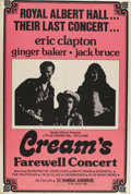 Music Memorabilia:Posters, Cream Farewell Concert Movie Poster (Film Shows, Inc., 1969). Themovie documenting the final performance (until the 2005 r...(Total: 1 Item)