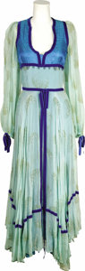 Music Memorabilia:Costumes, Annie Haslam Stage-Worn Thea Porter Dress and Related Memorabilia.A turquoise crepe chiffon dress with royal blue accents, ...(Total: 1 Item)