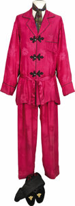 "Movie/TV Memorabilia:Costumes, ""The Addams Family"" Raul Julia Screen-Worn Costume. Gomez Addams'two-piece fuchsia silk pajamas with frog-closures, a print...(Total: 1 Item)"