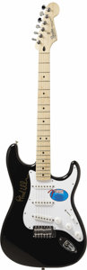 Music Memorabilia:Autographs and Signed Items, Fender Strat Signed By Phil Collins. This black Fender Stratocaster(Mexican) is signed by legendary songwriter and musician... (Total:1 Pieces Item)