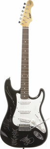 Music Memorabilia:Autographs and Signed Items, Nickelback Signed Guitar. An S 101 Standard electric guitar signedon the body by the members of Nickelback in silver paint ...(Total: 1 Item)