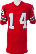 Football Collectibles:Uniforms, Circa 1975 Steve Grogan Game Worn, Signed New England Patriots Jersey - With Built In Hand Warmers....