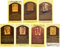 Autographs:Post Cards, 1980's-90's Hall of Famers Signed Yellow Plaques Lot of 51....