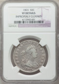 Early Half Dollars: , 1803 50C Large 3 -- Improperly Cleaned -- NGC Details. VF. NGCCensus: (19/1021). PCGS Population (36/303). Mintage: 188,23...