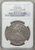 Seated Dollars: , 1849 $1 -- Improperly Cleaned -- NGC Details. VF. NGC Census:(0/256). PCGS Population (4/341). Mintage: 62,600. Numismedia...