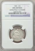 Seated Quarters: , 1880 25C -- Improperly Cleaned -- NGC Details. Unc. NGC Census:(2/108). PCGS Population (0/181). Mintage: 13,600. Numismed...