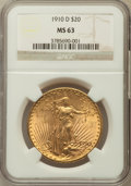 Saint-Gaudens Double Eagles: , 1910-D $20 MS63 NGC. NGC Census: (2096/2230). PCGS Population(1667/3069). Mintage: 429,000. Numismedia Wsl. Price for prob...