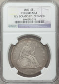 Seated Dollars: , 1840 $1 -- Cleaned, Rev Scratched -- NGC Details. Fine. NGC Census:(2/242). PCGS Population (4/300). Mintage: 61,005. Numi...