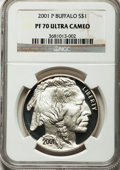 Modern Issues: , 2001-P $1 Buffalo Silver Dollar PR70 Ultra Cameo NGC. NGC Census:(1528). PCGS Population (740). Numismedia Wsl. Price for...