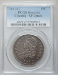 Bust Half Dollars: , 1811/10 50C -- Cleaned -- PCGS Genuine. XF Details. NGC Census:(8/332). PCGS Population (23/81). Numismedia Wsl. Price fo...