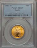 Modern Bullion Coins, 2007-W $10 Quarter-Ounce Gold Eagle MS69 PCGS. PCGS Population(1024/573). NGC Census: (1181/2583). Numismedia Wsl. Price ...