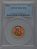 Lincoln Cents: , 1942 1C MS67 Red PCGS. PCGS Population (128/0). NGC Census: (398/0). Mintage: 657,828,608. Numismedia Wsl. Price for proble...