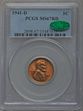 Lincoln Cents: , 1941-D 1C MS67 Red PCGS. CAC. PCGS Population (183/0). NGC Census: (903/0). Mintage: 128,700,000. Numismedia Wsl. Price for...