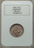 Coins of Hawaii: , 1883 25C Hawaii Quarter MS64 NGC. NGC Census: (218/280). PCGSPopulation (329/267). Mintage: 500,000. ...