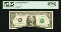 Error Notes:Printed Tears, Fr. 1913-L $1 1985 Federal Reserve Note. PCGS Extremely Fine45PPQ.. ...