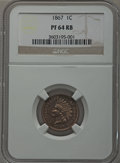 Proof Indian Cents: , 1867 1C PR64 Red and Brown NGC. NGC Census: (59/46). PCGS Population (85/38). Mintage: 625. Numismedia Wsl. Price for probl...