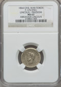 Civil War Patriotics, 1864 Abraham Lincoln / FREEDOM MS63 NGC. Fuld-125/294j, R.8....