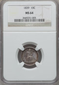 Seated Dimes, 1839 10C No Drapery MS64 NGC....