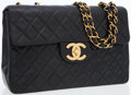 Luxury Accessories:Bags, Chanel Black Lambskin Leather Maxi Single Flap Bag with GoldHardware. ...